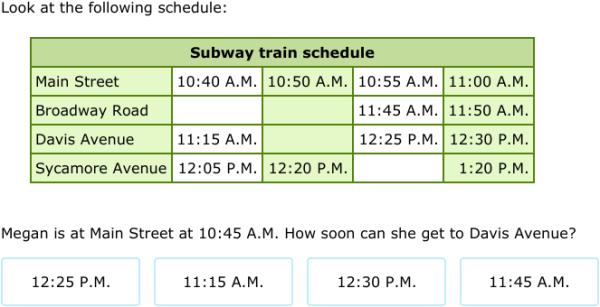 IXL - Transportation schedules (Year 5 maths practice)